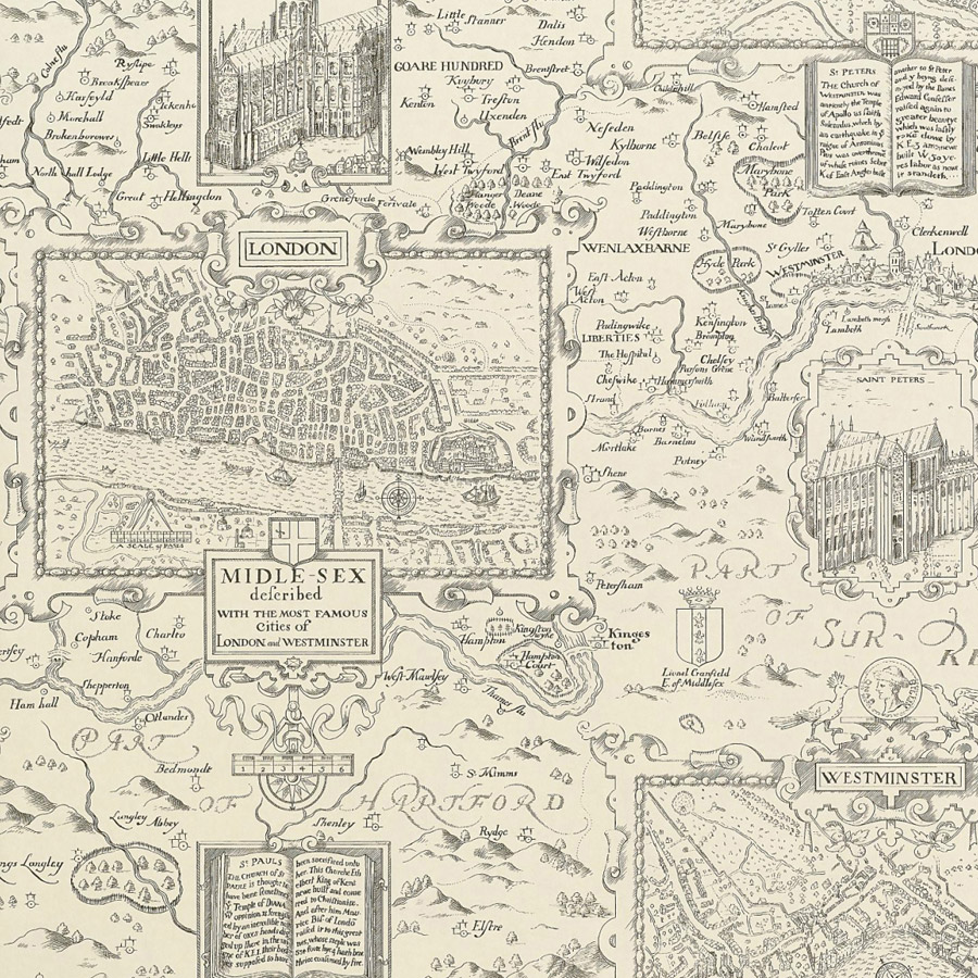 Thibaut anniversary london map page 36 t6012 - Behang london ...