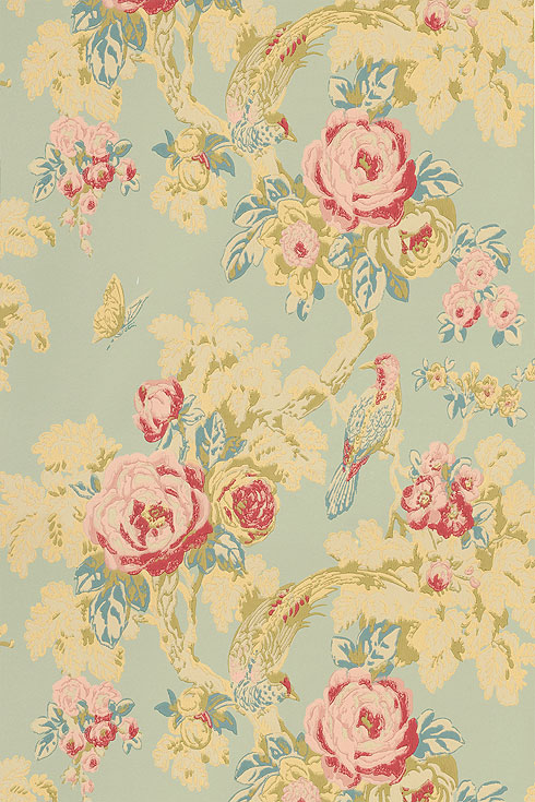 Anna french wild flora bird in the bush birwp071 for Old french wallpaper