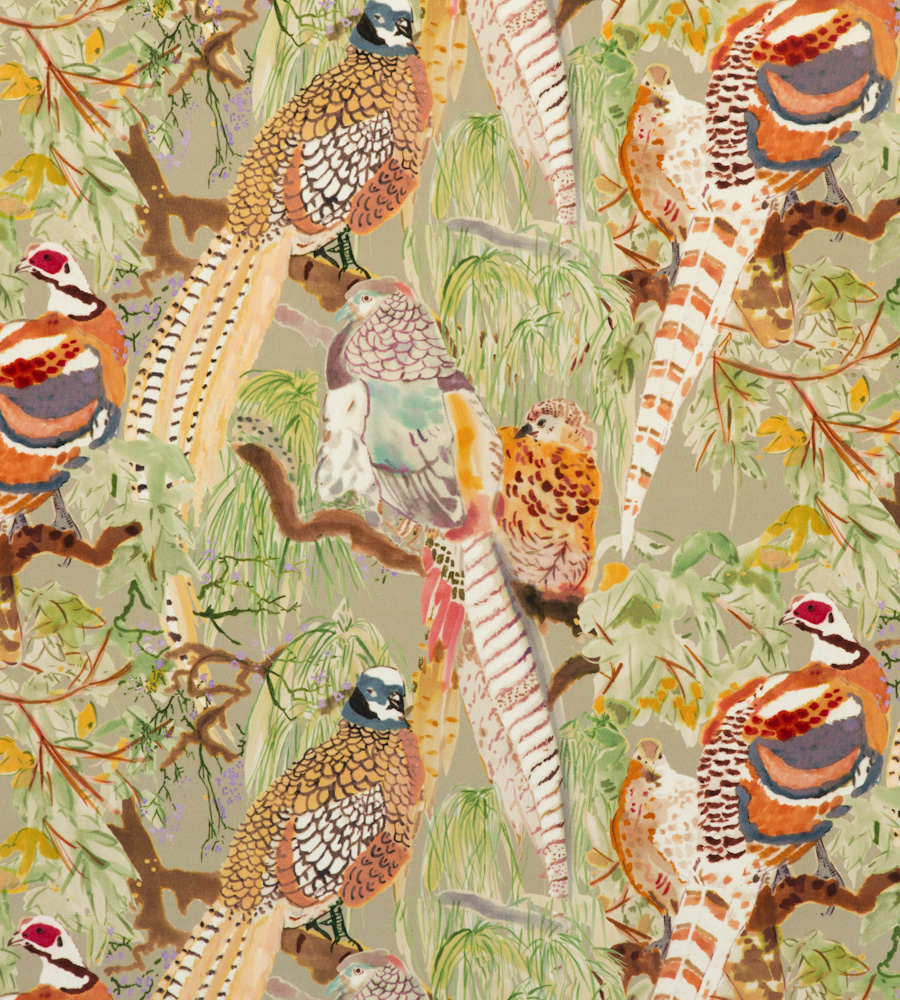 Mulberry home bohemian romance game birds velvet for Mullberry home