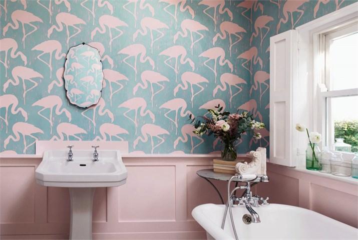 Sanderson vintage 2 flamingos 214569 for Carta parati torino